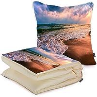 i FaMuRay Cuscino e Coperta da Viaggio, Beach Sand Seascapes