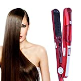 QYLJX Fer à Lisser Professionnel, Fer à Lisser en CéRamique Tourmaline, Fer à Lisser Fer à Vapeur, 5 RéGlable en TempéRature, Convient pour: Cheveux Secs et Humides (Rouge)