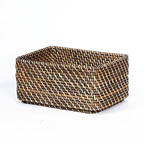 XBRpanier panier peuvent être _ bureau finissage de stockage stockage conception du chevauchement de zéro rotin panier panier panier,26x18x10cm brun foncé