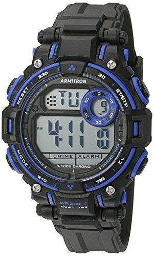 Armitron Sport Unisex 45/7066blu Azul Acentuado con (con cronógrafo Digital Mate Negro Correa de Resina Reloj