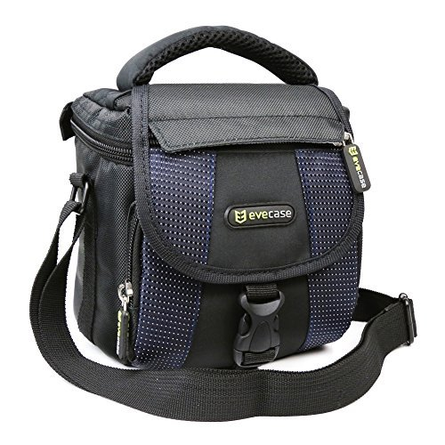 evecase-camera-carrying-pouch-case-bag-with-shoulder-strap-black-blue-for-canon-nikon-sony-fujifilm-