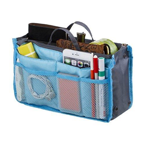 Cabrio Hobo Bag (Go Beyond (TM) Make-up-Organizer Tasche, Reisen Fach Handtasche mit 13Fügt Halter, Best für Organisation Gutschein und machen Accessories rutschsicher groß Tote Geldbörse mit Griff zum Aufhängen, Polyester-Mischgewebe, blau, 4 inches W x 11 inches L x 6 inches H)