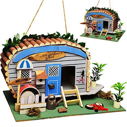 alles-meine.de GmbH Vogelhaus - Wohnwagen & Camper / Caravan - aus Holz - 28 cm - Nistkasten Vogelhäuschen Vogelnistkasten - für Garten & Balkon - Bunte Farben / Haus - zum Aufhä..