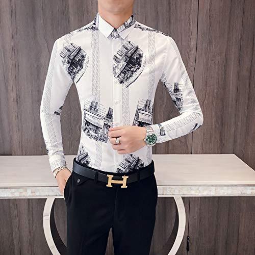 MKDLJY Herren-Hemd Mode 2019 Herbst New Slim Fit Print schwarz weiß Tuxedo Shirts Herren Langarm Casual Business Dress Shirt -