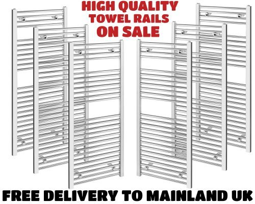 600x1400 Curved Chrome Heated Towel Rail - Radiators, 3279 Btu