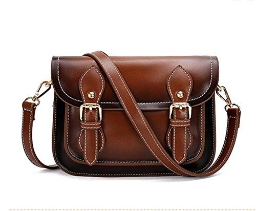 Womens PU cuir Style Cross travers le sac de messager d'épaule de corps (22 * 9 * 17cm) light brown