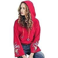 LILICAT® Mujeres con Capucha de Color Puro Bordado con Cuello en O Camisa y Blusa Superior Informal (Rojo S/M / L/XL / XXL)