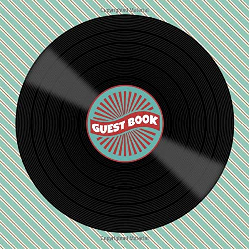 Vintage Vinyl Record Album Guest Book for Music Lovers - Nostalgic Sign in Book for 1940s 1950s 1960s 1970s or 1980s Themed ... for Email, Name and Address - Square Size ()