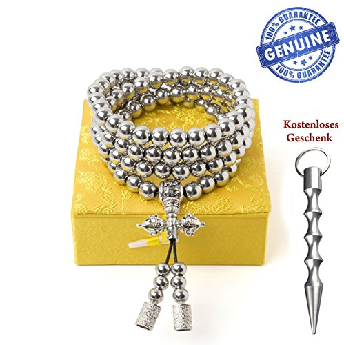 penixon Selbstverteidigung 108 Buddha Perlen Halskette Ketten (Voll Edelstahl)