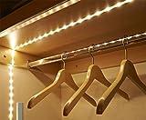 Sensor Strip LED Light, 1M Battery Powered Wireless PIR Motion Sensor 30 LED Lighting for Kitchen, Drawer, Stairs, Bedroom