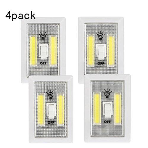 Hangang Weiss Lichtschalte/Schalter drahtlose, Licht Touch Sensor LED Dimmer Switch/LED-Wand-Beleuchtetes,Schrank-Nachtlicht Multi-Use für Notlicht/LagerungZimmer Küche/EU Standard S(4 Packung) (Wall Plate-nacht-licht)