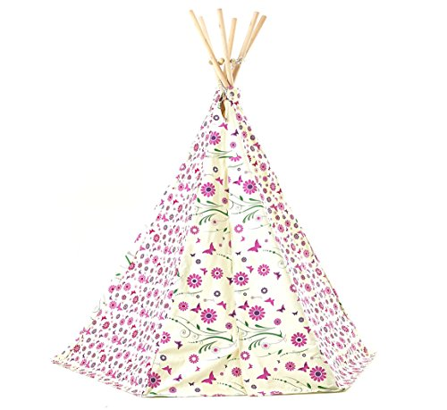 garden-games-limited-girls-flower-butterfly-wigwam-play-tent-with-wooden-frame-and-cotton-canvas-pin