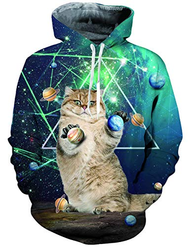 ALISISTER Unisex Katze Hoodie Space 3D Printed Langarm Sweatshirt mit Taschen Teen Graffiti Sport Gym Winter Kleidung Top XXL Teen-winter-kleidung