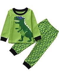 ZODOF 2PCS Niños Niños Niños Niñas Dinosaurio Print Top Clothes + Pantalones Largos Conjunto Outfit Traje de Dinosaurio Lindo para niños