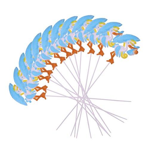 - Deko Picker - Kuchendeko - Tortendekoration - Storch Form - Baby Shower Party - 12er/Set - Blau ()