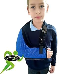 Écharpe bras/épaule - Poche profonde (Bleu Roi, 3-5 ans) Soutien Réhabilitation Ultra Confortable. ANTI-TRANSPIRANT, HYPOALLERGÉNIQUE. 4DflexiSPORT