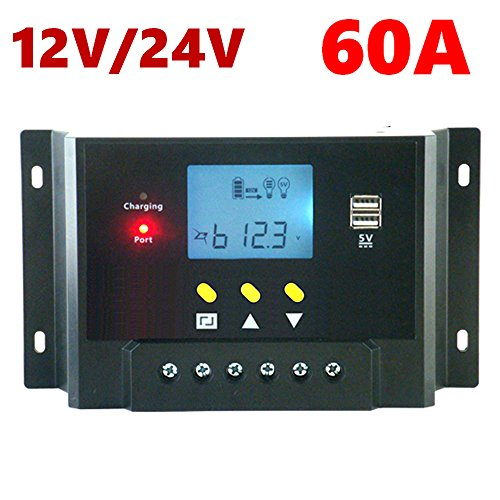 Samoleus 60A Solar Laderegler LCD Panel Laderegler 12V 24V Solar Panel Laderegler (12V 24V)