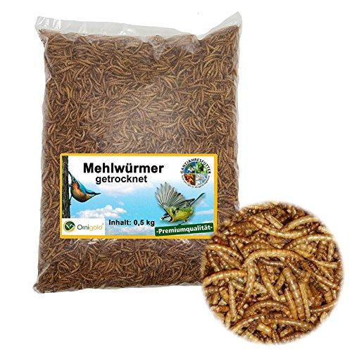 Mehlwürmer getrocknet 500g Beutel - Ornigold Insekten Wildvogelfutter – Ganzjahresfutter für Wildvögel, Hühner, Hamster, Reptilien und Koi