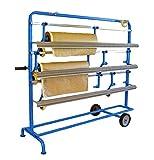 T4W 3P Mobiles Papier Abrollgerät - Fahrbarer Papierabroller 3 Rollen - 135 x 59 x 110 cm (59234)