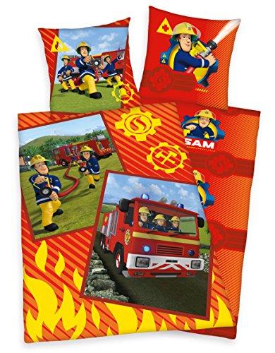 feuerwehrmann sam bettwaesche 135x200 80x80 Herding Feuerwehrmann Sam Wende Bettwäsche 80x80cm 135x200cm 100% Baumwolle Renforce