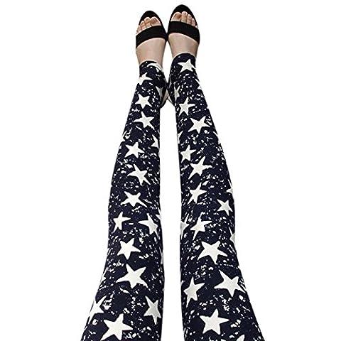 Vovotrade® Pantalon Mode Femmes Sexy Maigre Imprimé étoiles Leggings Stretch Pantalon Longue (Free size, Noir)