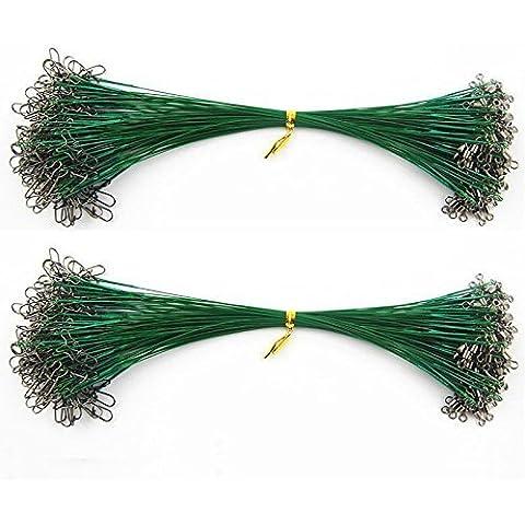 Shaddock pesca® 50/100pcs pesca in acciaio inox rivestito in Nylon morbido sottile Spinner pesca Rig Wire Leader con Snap e girevole–20/25cm 1x 7& 1x 19& 7x 7verde, 20CM 1x7 27LB 50PCS