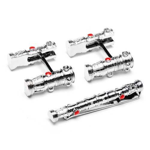 Officially licensed by Lucasfilm Star Wars Darth Maul Lightsaber Flip Bar Cufflinks and Tie Bar Set