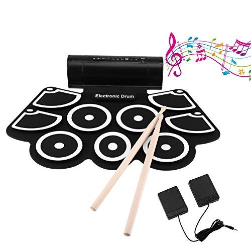 KONKY Roll Up E-Drum 9 Pad Tragbares Kit mit Lautsprecher & Fußpedale & Trommelstöcke, Entertainment-Kind-Geschenk Tag der Kinder Weihnachtsgeschenk, Elektronische Trommel für Anfänger