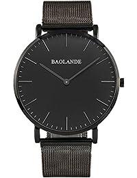 Alienwork Classic St.Mawes Quarz Armbanduhr elegant Quarzuhr Uhr modisch Zeitloses Design klassisch silber schwarz Metall U04916G-03