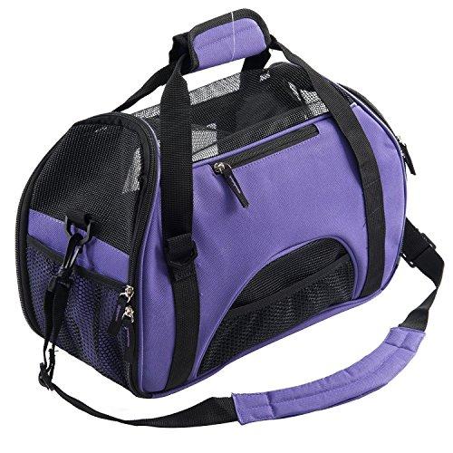 Freedom-vp Auto Hundetasche Haustier Katzen Autositz Transporttasche Sicherheit Tragetasche Hund Katze Handtasche Umhängetasche für Transportieren Kleintiere Tasche atmungsaktiv und beständig für Reisen mit dem Flugzeug oder mit dem Auto (Lila)