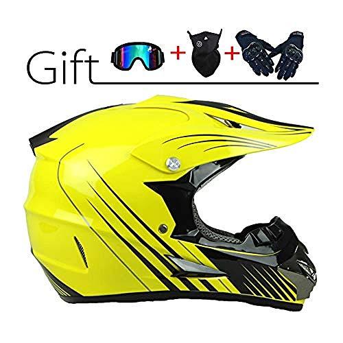 Casco de Motocross para Hombre: Conjunto de Casco Cruzado de Motocicleta con Gafas Máscara Guantes Motocicletas Casco Deportivo BMX Off-Road...