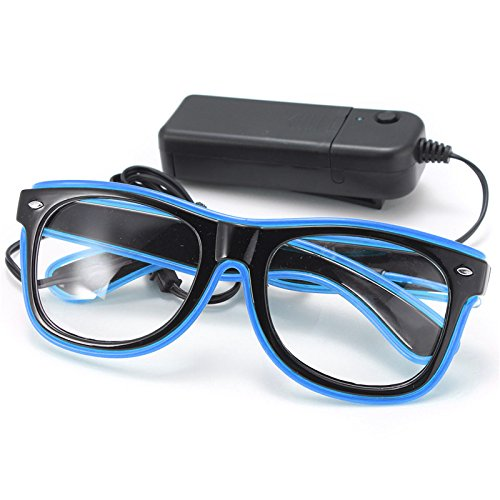 SOLMORE EL Wire Leuchtbrille Leuchten Cool Brille LED Drahtbrille Leucht Sonnenbrille Leuchtband Partybrille mit Batterie Box für Party Club Stage Disco blau (Led Sonnenbrille)