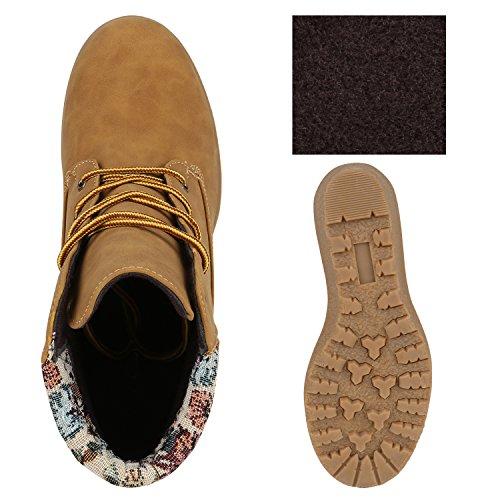 Damen Keilstiefeletten Profil Sohle Worker Boots Stiefeletten Hellbraun Muster