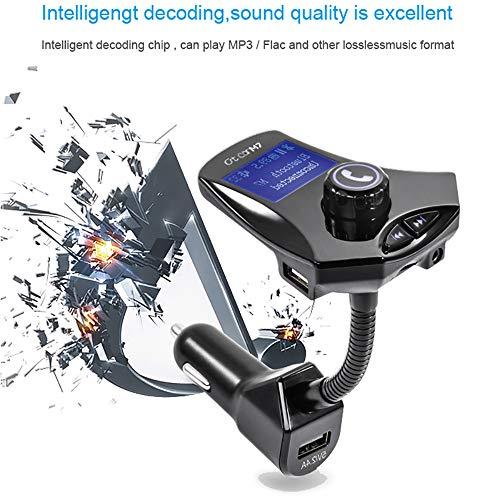 FM-Sender, Bluetooth Car MP3 Player Radio Adapter hands-free Talking Car Kit mit Power On/OFF Button, Dual USB-Port und 3,5mm Audio-Port High-performance Powersports Batterie