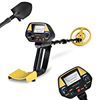 INTEY Metal Detector with Pinpoint, Adjustable DISC Function Lightweight Gold detector with Waterproof Coil Plus Folding Shovel & Rucksack for Adults and Beginners as Family Leisure