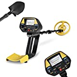 INTEY Pinpoint Metal Detector - Lightweight Gold Detector with Waterproof Coil -Adjustable DISC Metal detectors Plus Folding Shovel & Rucksack for Adults and Beginners as Family Leisure