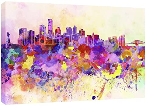 MOOL Large 32 x 22-inch New York Skyline in Watercolour Canvas Wall Art Print Hand Stretched on a Wooden Frame with Giclee Waterproof Varnish Finish Ready to Hang