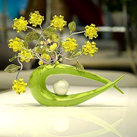 Lx.AZ.Kx Decorazioni ornamenti soggiorno Continental vasi di ceramica Artigianato Il regalo di nozze Home Fiori artificiali pacchetto di emulazione,Lacca verde comò + giallo