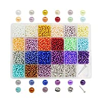 TOAOB 2920 Pieces 4mm Mixed Color Glass Pearl Beads and Rhinestones Spacer Beads for Jewelry Making