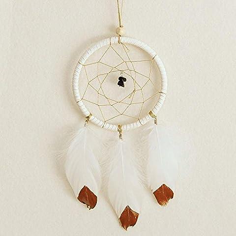 LifeUp Sogni d'oro- Acchiappasogni con Piume,Decorazione Auto Casa Giardino, Dream Catcher Indiano Bianco 25*11cm