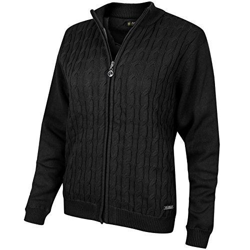 Island Green Damen Ladies Zip Through Cable Knit Jumper Pullover, schwarz, S (UK: 10) - Zip Knit Jumper