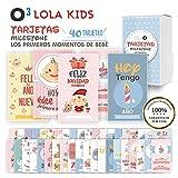 O³ Milestone Baby Cards Lola Kids - 40 Cartas En Español Para Primer Año De Bebé Con Caja De Regalo - Diseño Único | Tarjetas De Recuerdo - Tarjetas Milestone - Regalos Recien Nacidos - Babyshower