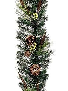 190 x 10 plumes de faisan Artificielles Guirlande de Noël avec pommes de pin-étant éteinte