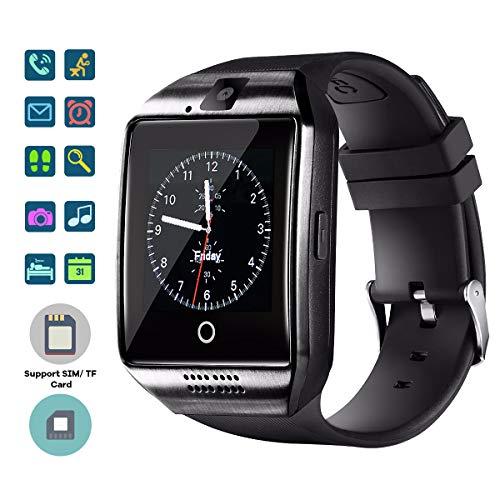 TagoBee TB02 Bluetooth Smart Uhr mit SIM-Kartensteckplatz Kamera HD Screen Touch-Unterstützung Whatsapp Facebook Benachrichtigung Kompatibel mit Allen Android-Handys und iPhone (Teilfunktion) schwarz Ultra-wide-band-usb