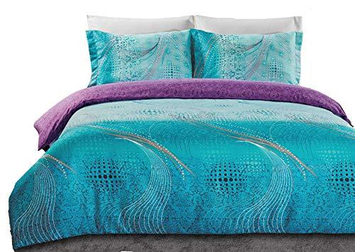 Bettbezug-Set, Super Soft 3-Teiliges Bettbezug Set inkl. 2Kissenbezügen (Queen/King Size) King Aqua and Purple ()
