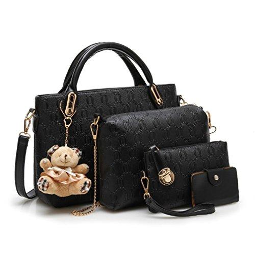 Longlove Bag 4 Set Frauen Clutch Bag Kunstleder Schulter Crossbody Handtasche Handtaschen (Lila) Schwarz