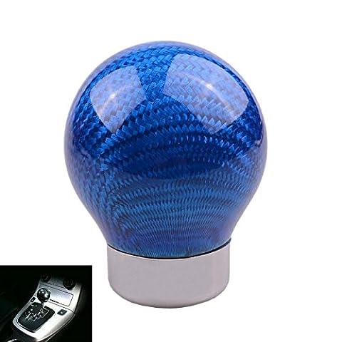 SMKJ Auto Schaltknauf Carbon Fiber Kugel Schaltknüppel Gear Shifter Knob Universal für most Fahrzeuge ohne Rückwärtsgangarretierung (Blau)