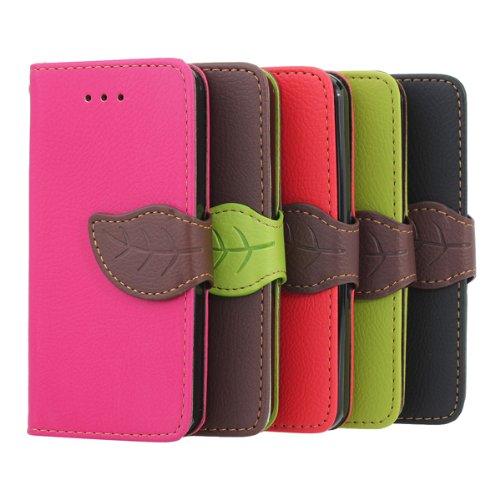 Feuilles Bouton Wallet design Folio PU Housse en cuir pour iPhone 5C pche rouge