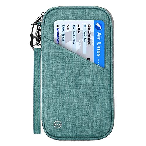 Reisepass Tasche Reisepasshülle RFID-Blocker Schutzhülle | Familien Reise Brieftasche Pass Hülle Passport Etui Ausweistasche Dokumente Organizer für Damen/Herren 25 x 14 cm (Grün)