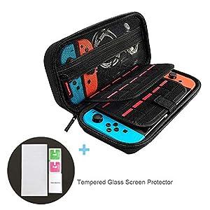 Tragetasche für Nintendo Switch + Displayschutzfolie aus gehärtetem Glas, Aufbewahrungstasche/Hartschalen Case/Schutzhülle (20 Kartenhalter, große Kapazität) für Nintendo Switch Konsole & Accesoires
